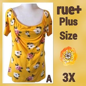 rue+ Plus Sizes Yellow Floral Short Tee 3X